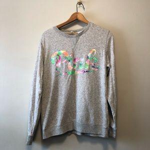 Victoria Secret PINK Grey Floral Sweater
